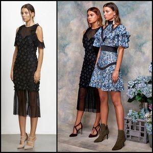 Elliatt Black Floral Lace Polka Dot Mesh Dress